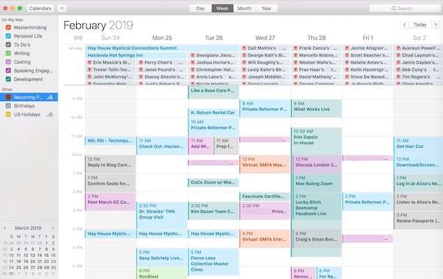 Bon's Badass Calendar at a Glance