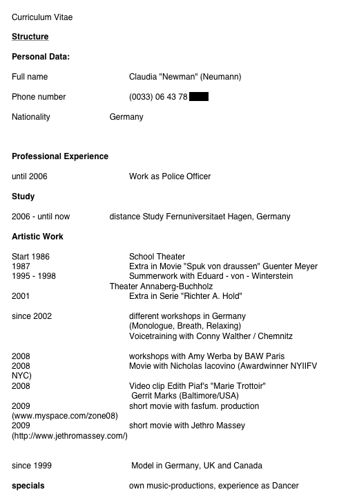example of special skills for acting resumes