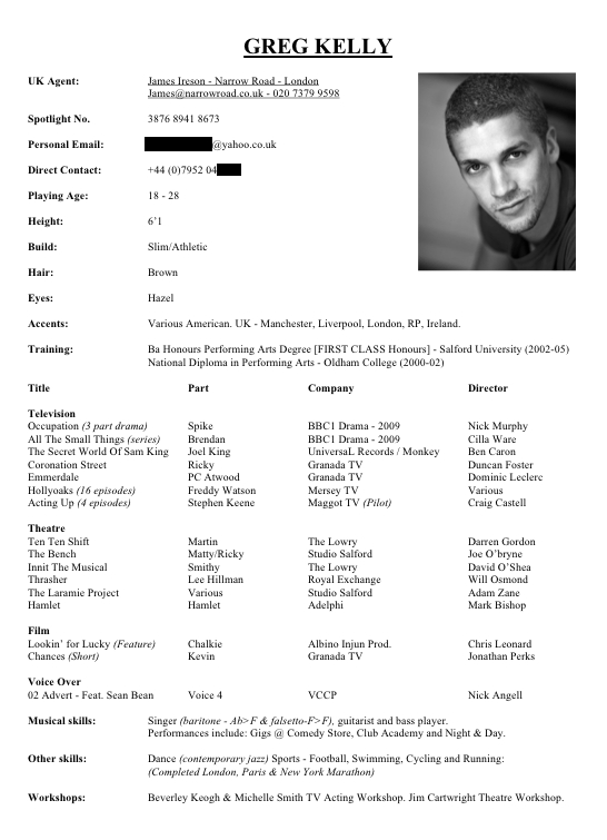 Sample Acting Resume. Critiques Your Resums