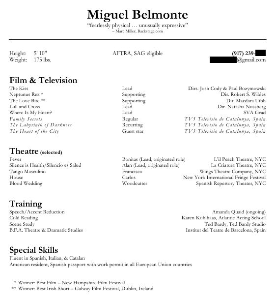 Acting Resume Special Skills List images